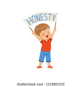 Cute boy holding message board with text Honesty over his head vector Illustration on a white backgroun