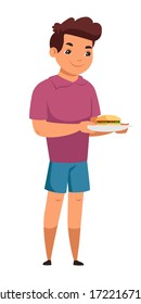 Cute boy holds plate with hamburger isolated person. Smiling kid with burger, enjoying tasting of fast food. Unhealthy eating habits. Childhood nutrition concept. Vector character illustration