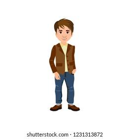 Cute boy in jeans and blazer, vector icon for presents, invitation, children room, nursery decor, interior design.