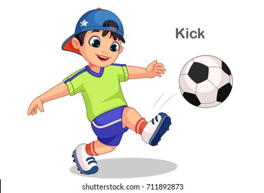 Cute Boy Kicking Soccer Ball Vector Illustration