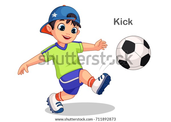 Cute Boy Kicking Soccer Ball Vector Stock Vector (Royalty ...