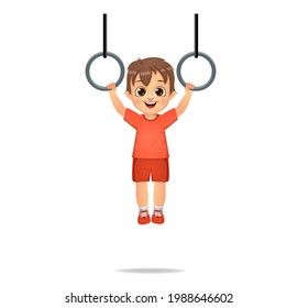 cute boy kid hanging with rings
