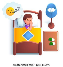 "Cute boy kid sleeping in bed under blanket on a big pillow. Child having a good night sleep bedtime at home bedroom sucking his thumb finger. Sleeping ""zzz"" emotion. Flat vector character illustration"