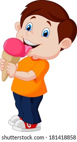 Cute boy licking ice cream