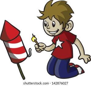 Cute boy lighting fireworks - Vector clip art illustration on white background