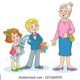 Cute boy and little girl congratulate dear grandmother.  In cartoon style. Isolated on white background. Vector illustration.