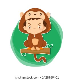 Cute boy in monkey suit cartoon character in chinese zodiac concept use for illustration