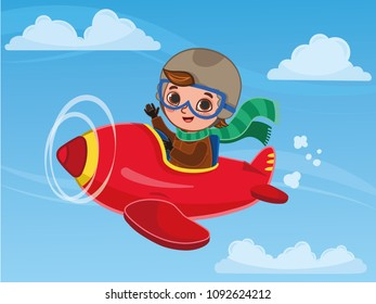 Cute boy pilot flies on a red plane. Cartoon vector illustration