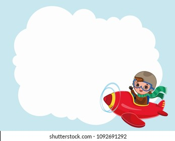 Cute boy pilot flies on a red plane with a label. Cartoon vector illustration
