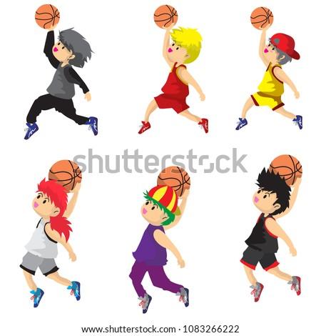 Cute Boy Play Basketball Clipart Character Stock Vector Royalty
