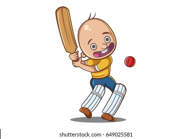 Cute Boy Playing Cricket. vector illustration. Isolated on white background.