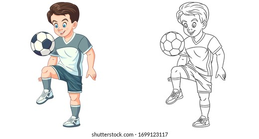 Cute boy playing football. Coloring page and colorful clipart character. Cartoon design for t shirt print, icon, logo, label, patch or sticker. Vector illustration.