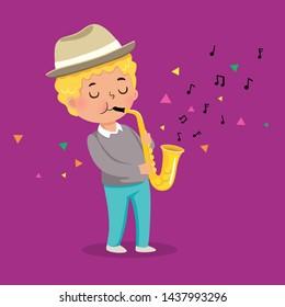 Cute boy playing saxophone on purple background
