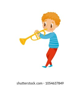 Cute boy playing trumpet, little musician character with musical instrument cartoon vector Illustration on a white background