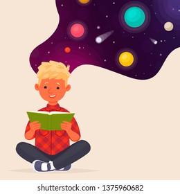 Cute boy reading a book about space and planets. Education. Vector illustration in flat style
