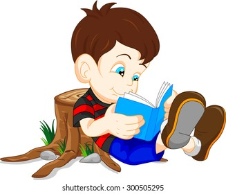 cute boy reading books