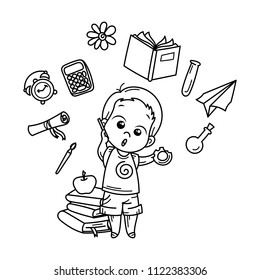 Cute boy ready for School. Vector illustration for books, prints, posters, cards. Coloring page