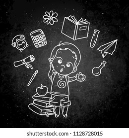 Cute boy ready for School. Vector illustration for books, prints, posters, cards. Chalk cartoon on a blackboard