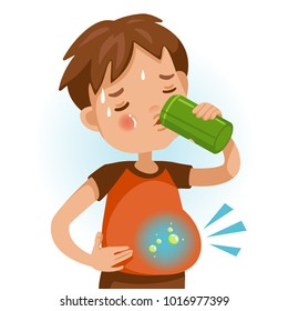 Cute boy in red shirt holding Beverage cans of  kid drinking sparkling water. Abdominal pain, flatulence, gas in the stomach. Bad for children's health. Vector Illustration Isolated on White backgroun