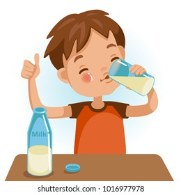 Cute boy in red shirt holding glass of  kid drinking milk.Thumbs up. Emotionally. Healthy Concepts and Growth in Child Nutrition. Vector Illustration Isolated on White background.