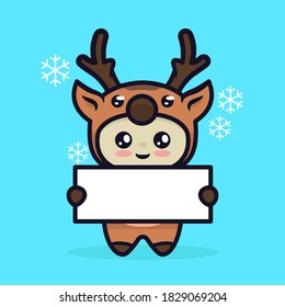 Cute boy with reindeer Christmas holding invitation banner