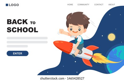 Cute boy ride on the rocket in to the space with earth, moon and star at background use for landing page, back to school vector illustration