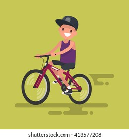 Cute boy riding a bicycle. Vector illustration