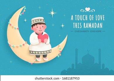 Cute boy sitting on crescent moon with a heart in arm, inspired by Zakat, an important Islamic obligation of donation and charity