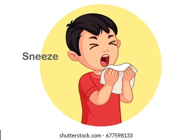 Cute boy sneezing