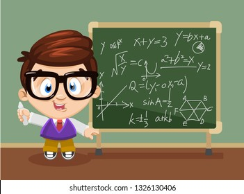 Cute boy spectacled standing near a chalkboard, holding chalk in his hand and doing sums or explaining mathematics to somebody. Cartoon illustration isolated on white background.