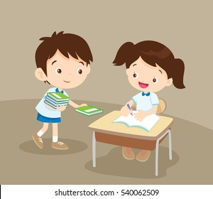Cute boy student giving book for friend in classroom.pupils service a girl friend.