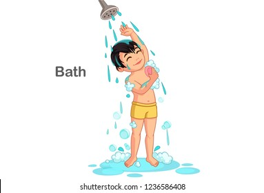 taking shower cartoon images stock photos vectors shutterstock https www shutterstock com image vector cute boy taking bath vector illustration 1236586408