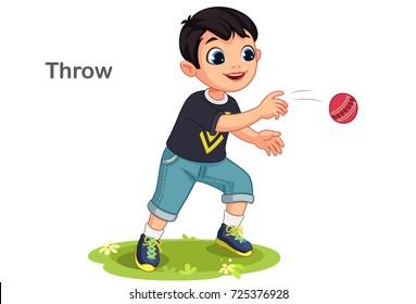 Cute boy throwing a ball vector illustration