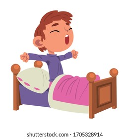 Cute Boy Waking Up, Preschool Kid Daily Routine Activity Cartoon Vector Illustration