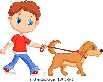 Cute boy walking with dog
