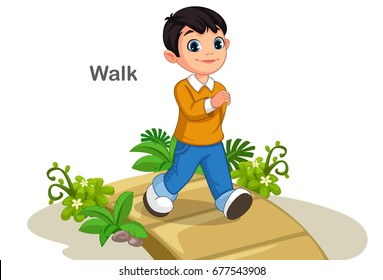 Cute boy walking on the path