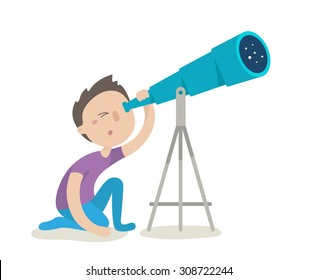 Cute boy watching through telescope. Flat design vector illustration isolated on white background
