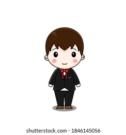 Cute boy wears formal suit. Vector illustration of chibi bestman character isolated on white background.