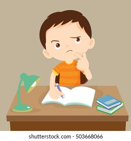 Cute boy writing and thinking. Vector illustration of a little boy writing at his desk.Caucasian student boy at his desk writing for homework.