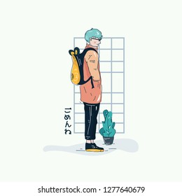 Cute Boy Young Manga  with Pink jacket yellow bunny bag side floral vector illlustration japanese style with text I'm sorry in hiragana language