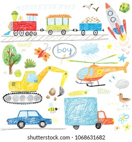 cute boys doodle drawing with train, car, truck, helicopter, rocket and excavator