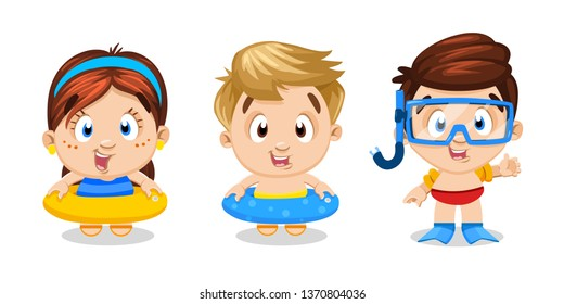 Cute boys and girl standing with swim outfits: inflatable rings, flippers, goggles, snorkel . Little children are ready to learn to swimming. Concept of lessons, training in pool. Cartoon vector.