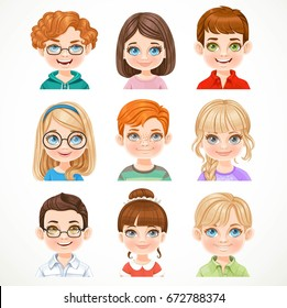 Cute boys and girls portraits of avatars isolated on a white background