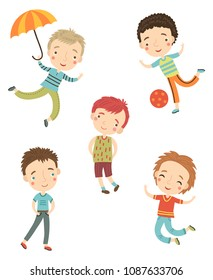 Cute boys vector set