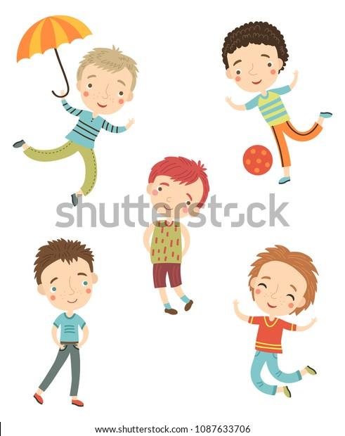Cute boys vector set
