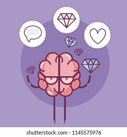 Cute brain cartoon card