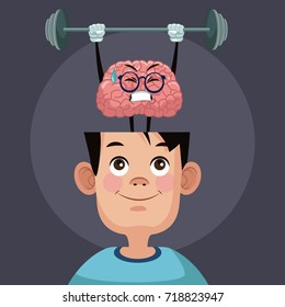 Cute brain cartoon in kid head