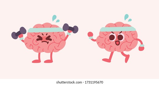 Cute brain character illustration. Brain lifting and exercising with dumbbells.