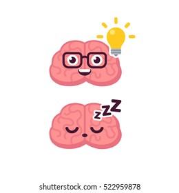 Cute brain character illustration. Sleeping and lightbulb idea concept. Cartoon vector icon.