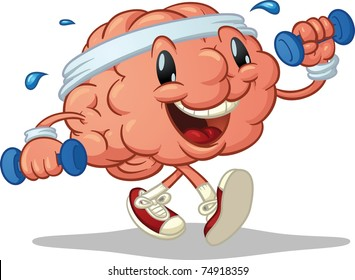 Cute brain exercising. Vector illustration with simple gradients. Character and shadow on separate layers for easy editing.